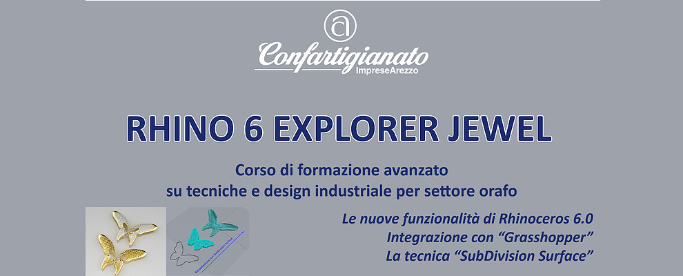 Rhino 6 Explorer Jewel. Confartigianato organizza corso su tecniche e design orafo
