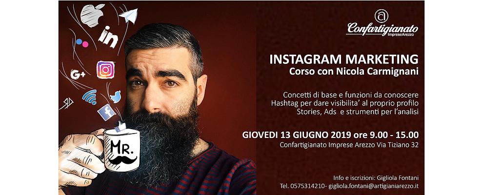 Instagram Marketing. Il 13 Giugno arriva ad Arezzo Nicola Carmignani
